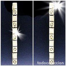 Joyeria: MAGNIFICOS PENDIENTES DE ORO 18K Y 10 BRILLANTES - LARGOS Y ARTÍCULADOS - DIAMOND - 3,8CM. Lote 152542622