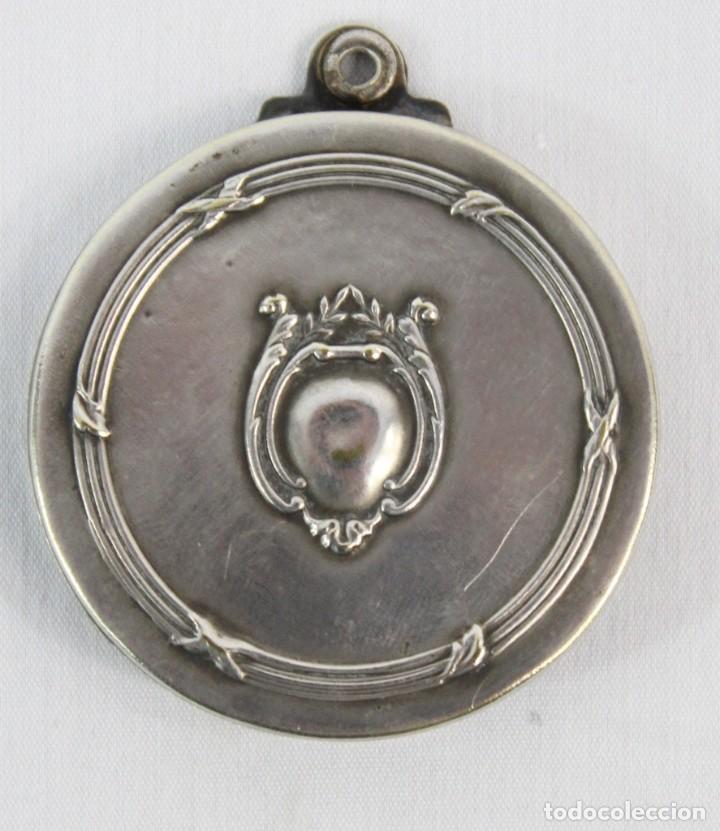 Joyeria: Bellísimo colgante espejo, plata cincelada, s XIX art nouveau - Foto 2 - 169659708