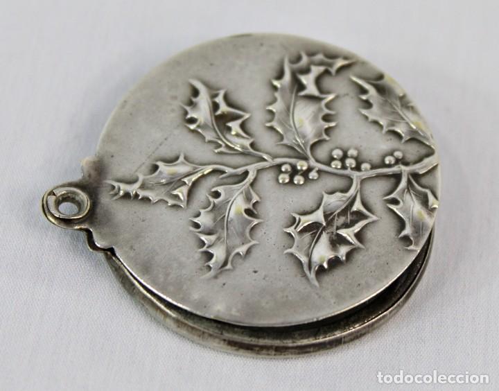 Joyeria: Bellísimo colgante espejo, plata cincelada, s XIX art nouveau - Foto 3 - 169659708