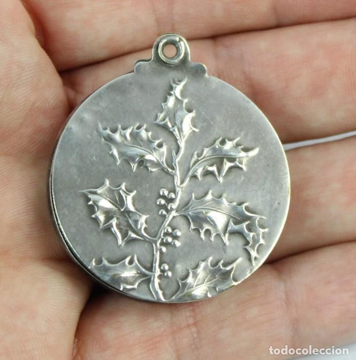 Joyeria: Bellísimo colgante espejo, plata cincelada, s XIX art nouveau - Foto 4 - 169659708