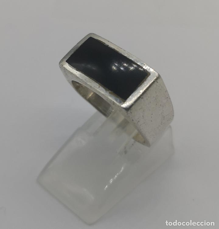 Joyeria: Anillo antiguo en plata de ley contrastada con aplicación de azabache autentico . - Foto 3 - 169772236