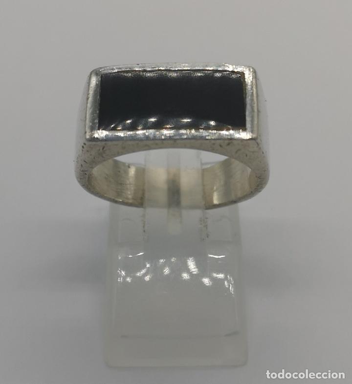 Joyeria: Anillo antiguo en plata de ley contrastada con aplicación de azabache autentico . - Foto 4 - 169772236