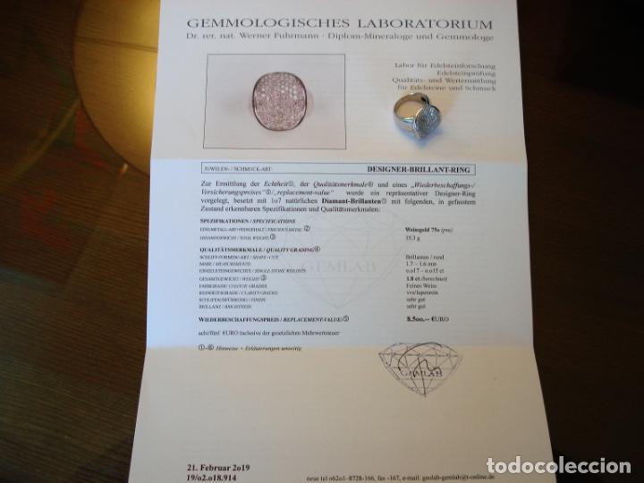 Joyeria: TREMENDO ANILLO DE ORO BLANCO 18 KT CON 107 DIAMANTES GENUINOS 1,80 CT EN TOTAL,CERTIFICADO GEMOLOGO - Foto 3 - 169873628