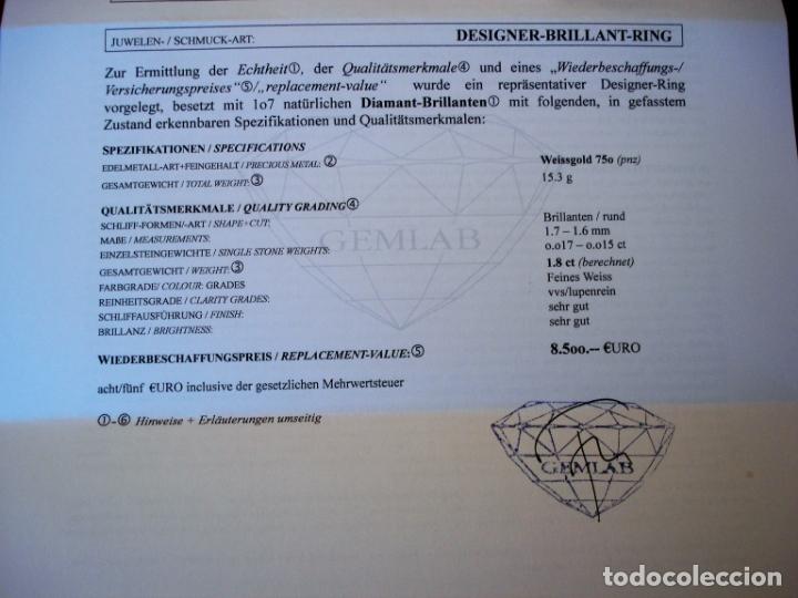 Joyeria: TREMENDO ANILLO DE ORO BLANCO 18 KT CON 107 DIAMANTES GENUINOS 1,80 CT EN TOTAL,CERTIFICADO GEMOLOGO - Foto 15 - 169873628
