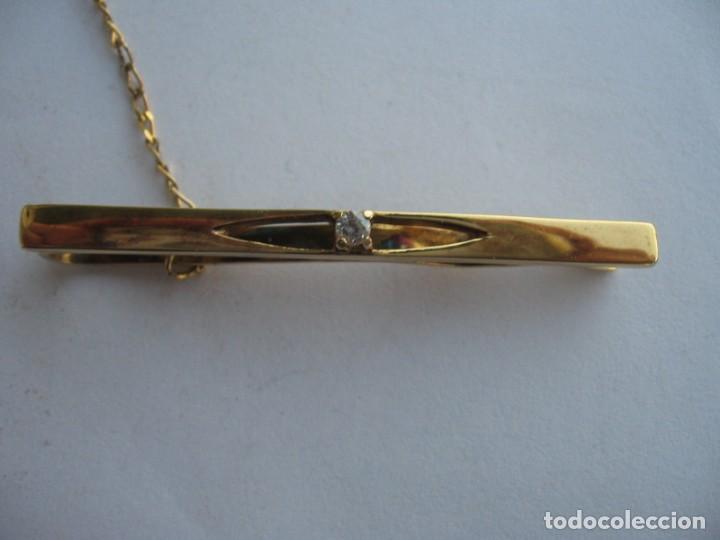 Joyeria: Pasador de corbata de plata con baño de oro y circonita cúbica central - Foto 5 - 169881108