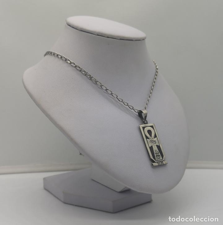 Joyeria: Gargantilla antigua con cruz de horus y cartucho con jeroglífico egipcio en plata de ley contrastada - Foto 2 - 170028520