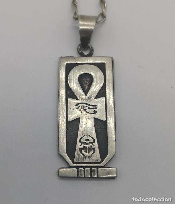 Joyeria: Gargantilla antigua con cruz de horus y cartucho con jeroglífico egipcio en plata de ley contrastada - Foto 5 - 170028520