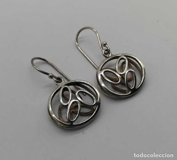 Joyeria: Pendientes vintage tipo zen troquelados en plata de ley contrastada . - Foto 2 - 170381696