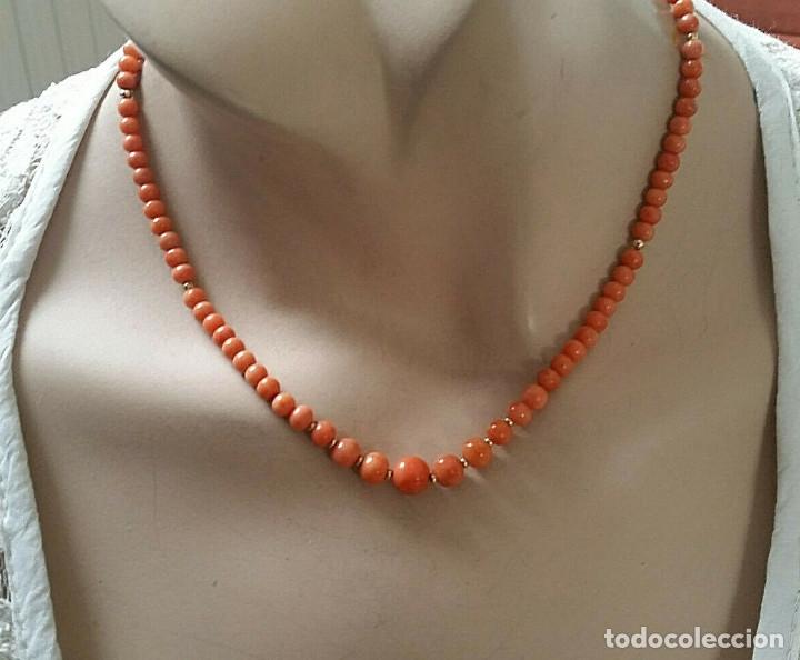 Joyeria: Collar de coral genuino/100% natural.Coral Sardegna. Con cierre de oro 14k. 44 cms en total. - Foto 7 - 195072907