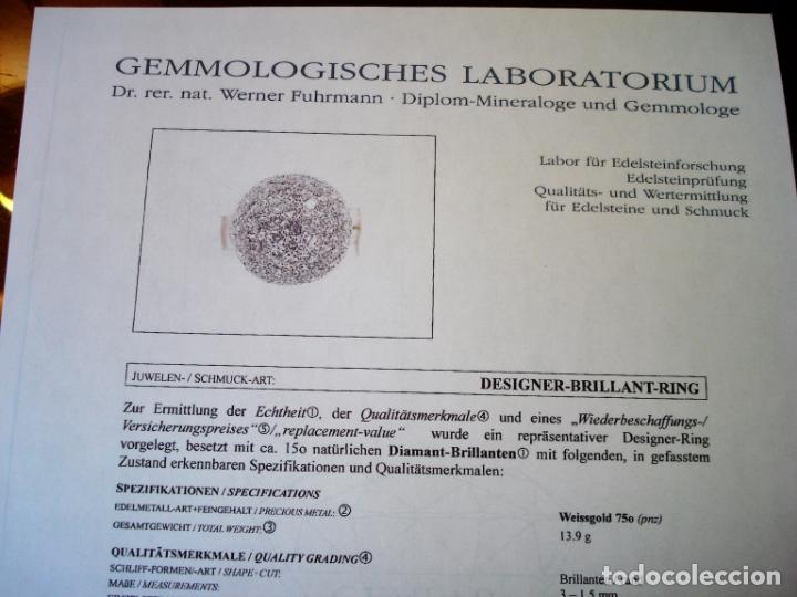 Joyeria: TREMENDO ANILLO DE ORO BLANCO 18 KT CON 150 DIAMANTES GENUINOS 5,50 CT EN TOTAL,CERTIFICADO GEMOLOGO - Foto 4 - 172568094