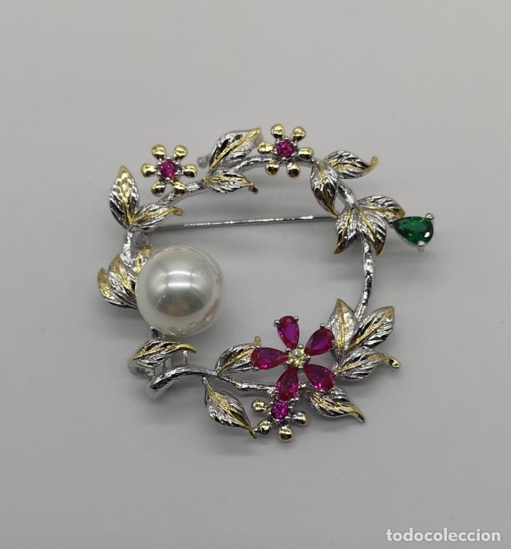 Joyeria: Precioso broche de lujo con acabados en oro blanco y amarillo 18k, perla y turmalinas autenticas . - Foto 5 - 172693330
