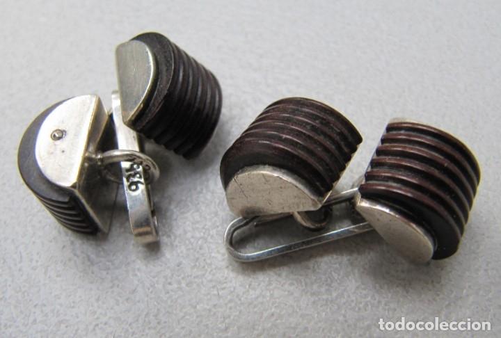 Joyeria: gemelos plata y ébano vintage - Foto 2 - 172791274