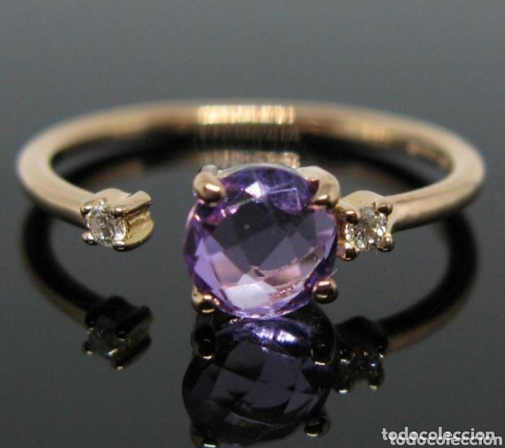 Joyeria: Anillo ORO Rosa 18k Amatista y diamantes. - Foto 3 - 173097822