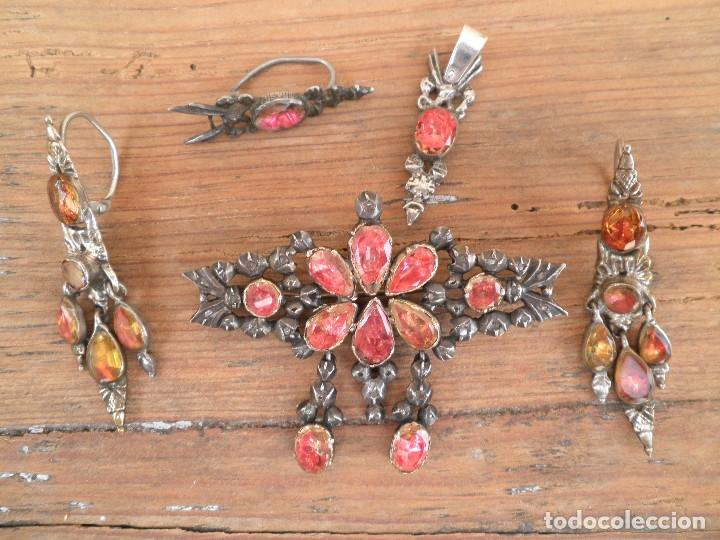 Joyeria: Broche, pendientes y colgante joyeria popular catalana o aragonesa XVIII. PIEZAS DE MUSEO.Regionales - Foto 2 - 173126337