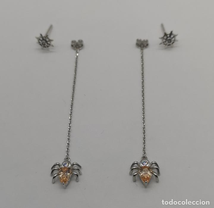 Joyeria: Originales pendientes de telaraña con araña subiendo en plata de ley, circonitas y topacios champán - Foto 6 - 231290595