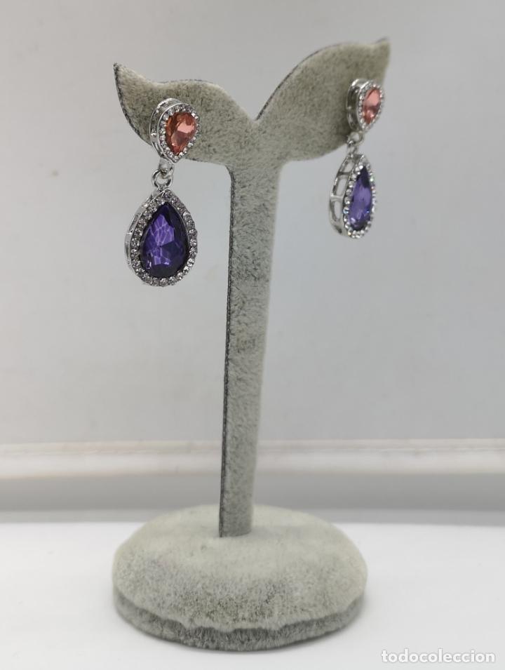 Joyeria: Bellos pendientes de gala con acabados en plata, circonitas y cristal austriaco talla pera . - Foto 2 - 173471980
