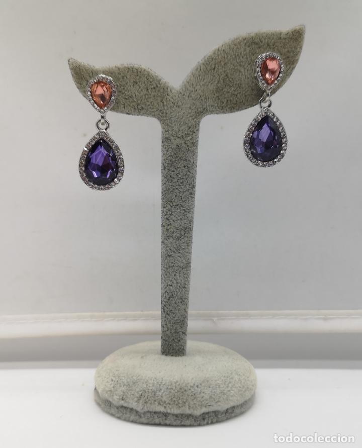 Joyeria: Bellos pendientes de gala con acabados en plata, circonitas y cristal austriaco talla pera . - Foto 5 - 173471980
