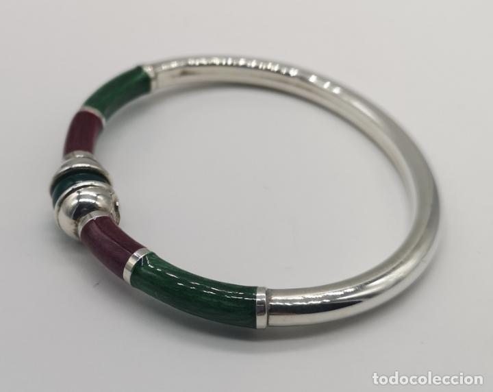 Joyeria: Sofisticado y elegante brazalete en plata de ley, esmaltes al fuego y bola de jade natural . - Foto 2 - 173793307