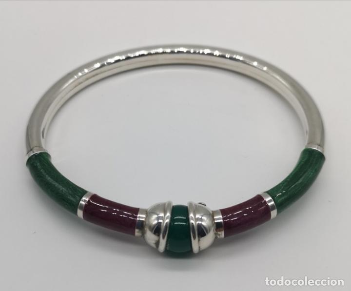 Joyeria: Sofisticado y elegante brazalete en plata de ley, esmaltes al fuego y bola de jade natural . - Foto 5 - 173793307