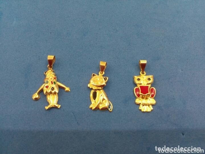 LOTE 3 COLGANTES MÓVILES DE ORO DE 14K GF 1/20 (Joyería - Colgantes Antiguos)