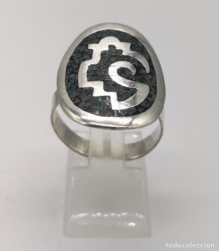 Joyeria: Original anillo antiguo apache en plata de ley contrastada con aplicación de piedras en micromosaico - Foto 2 - 174039048