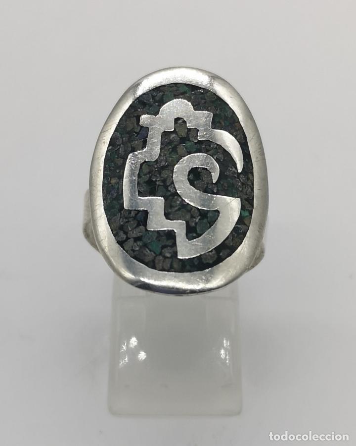 Joyeria: Original anillo antiguo apache en plata de ley contrastada con aplicación de piedras en micromosaico - Foto 4 - 174039048