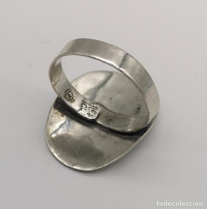 Joyeria: Original anillo antiguo apache en plata de ley contrastada con aplicación de piedras en micromosaico - Foto 5 - 174039048