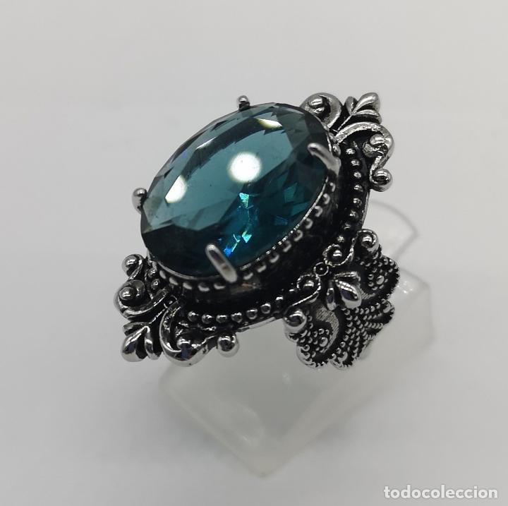 Joyeria: Magnífico anillo de estilo gótico con acabado en plata de vieja y cristal austriaco azul talla oval - Foto 2 - 275614268