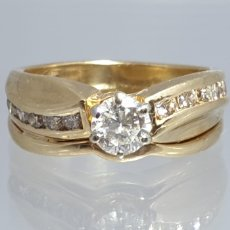 Joyeria: EXCLUSIVO ANILLO ORO 14 K CON DIAMANTES CENTRAL 0,5CT CON CERTIFICADO. Lote 165569586