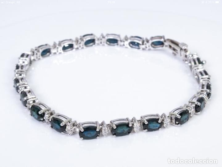 Joyeria: Pulsera rivière de oro 18 kt con diamantes y zafiros - Foto 2 - 174682703