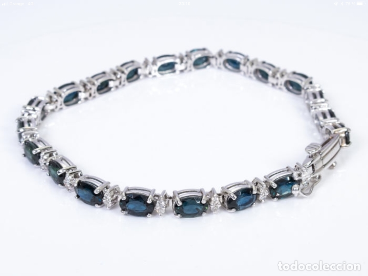 Joyeria: Pulsera rivière de oro 18 kt con diamantes y zafiros - Foto 3 - 174682703