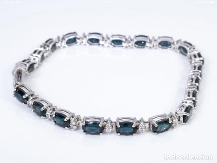 Joyeria: Pulsera rivière de oro 18 kt con diamantes y zafiros - Foto 5 - 174682703