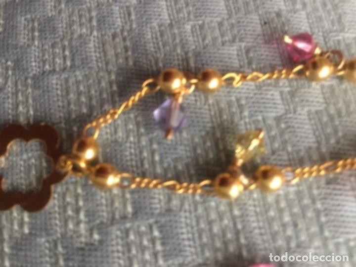 Joyeria: Pulsera de oro laminado de 18 kilates con colgantes y contraste de autenticidad Mide 18 cm. largo. - Foto 5 - 175076707