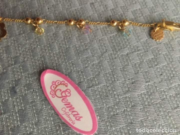 Joyeria: Pulsera de oro laminado de 18 kilates con colgantes y contraste de autenticidad Mide 18 cm. largo. - Foto 8 - 175076707