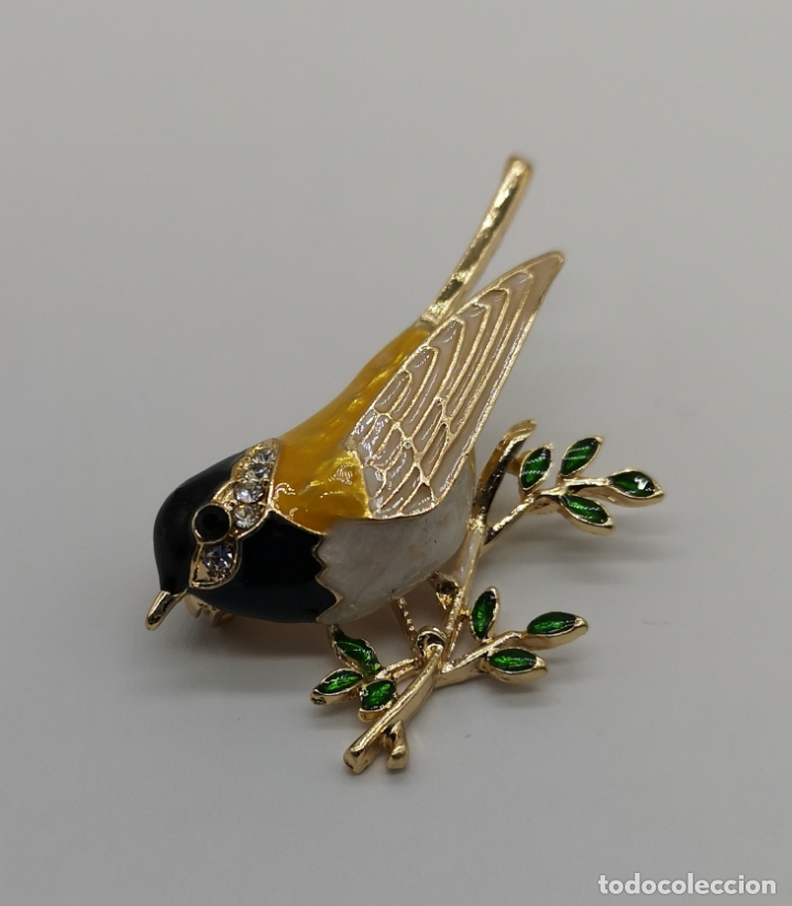 Joyeria: Precioso broche de gorrion con acabado en oro, esmaltes al fuego y circonitas talla brillante . - Foto 4 - 187595686