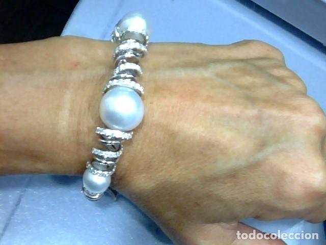 Joyeria: brazalete oro blanco 18 kl,perlas australianas y diamantes - Foto 2 - 175212994