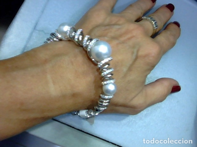 Joyeria: brazalete oro blanco 18 kl,perlas australianas y diamantes - Foto 3 - 175212994