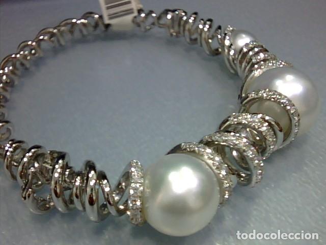 Joyeria: brazalete oro blanco 18 kl,perlas australianas y diamantes - Foto 6 - 175212994