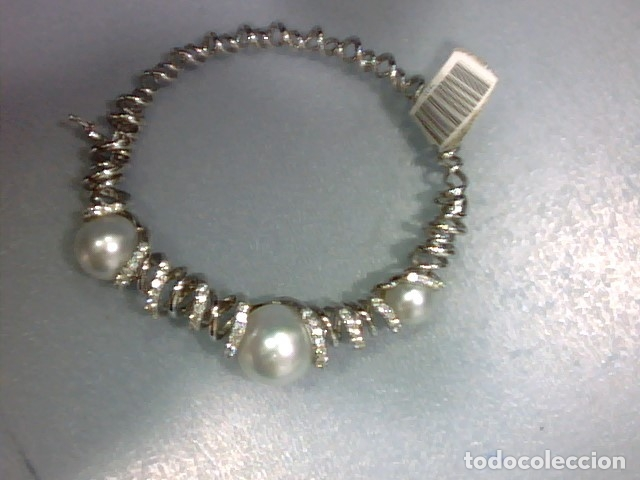 Joyeria: brazalete oro blanco 18 kl,perlas australianas y diamantes - Foto 7 - 175212994