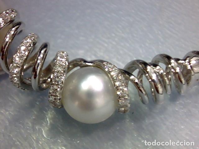 Joyeria: brazalete oro blanco 18 kl,perlas australianas y diamantes - Foto 9 - 175212994