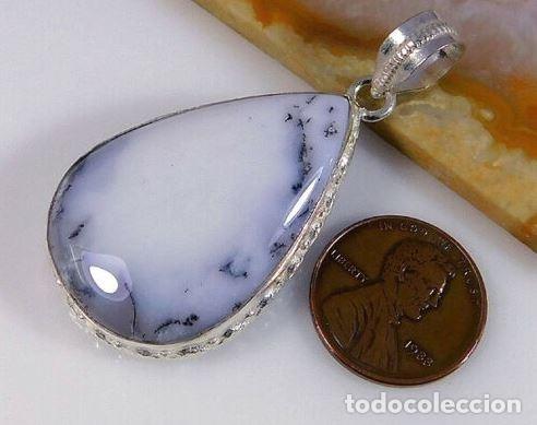 Joyeria: Colgante en Plata 925 con Ópalo Natural Dendrítico Blanco de 5 cm. - Foto 2 - 175672460