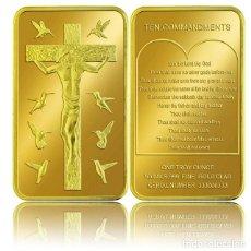 Joyeria: LINGOTE DE ORO DE JESÚS CRUCIFICADO Y LOS DIEZ MANDAMIENTOS ARTICULO RELIGIOSO. Lote 175961170