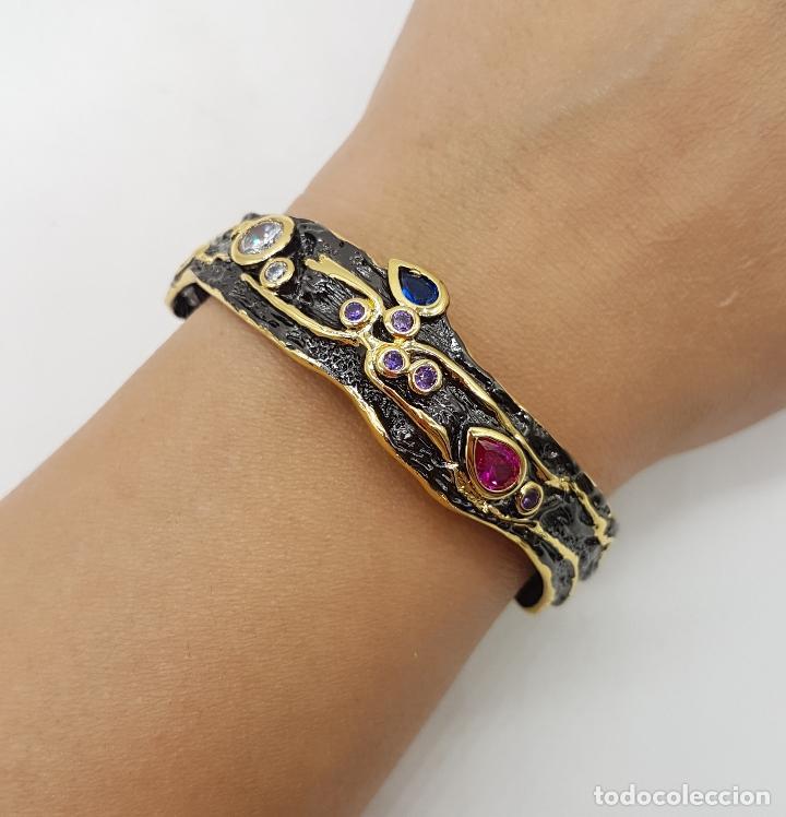 Joyeria: Original brazalete vintage de estilo gótico laminado en oro de 18k con turmalinas incrustadas . - Foto 3 - 230444080