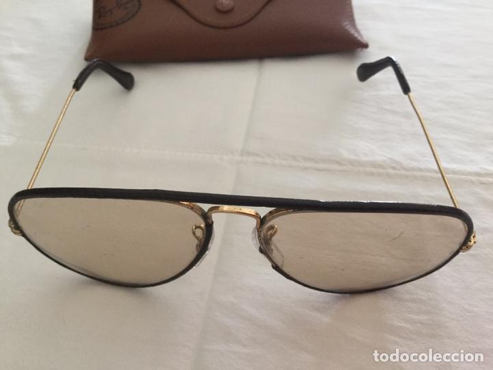 Joyeria: Hermosos Ray Ban vintage forrado en cuero de oro o con muchos micrones - Foto 2 - 176276624