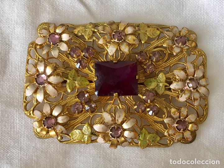 Joyeria: Antiguo broche checoslovaco de filigrana de laton, esmalte y cristal - Foto 2 - 176424522