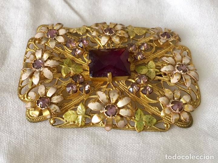 Joyeria: Antiguo broche checoslovaco de filigrana de laton, esmalte y cristal - Foto 3 - 176424522