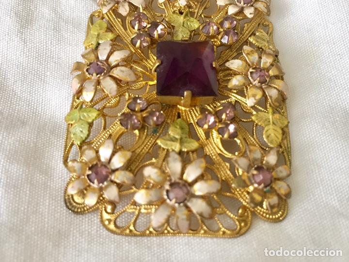 Joyeria: Antiguo broche checoslovaco de filigrana de laton, esmalte y cristal - Foto 4 - 176424522