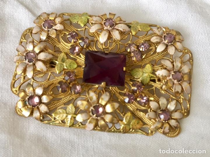 Joyeria: Antiguo broche checoslovaco de filigrana de laton, esmalte y cristal - Foto 5 - 176424522