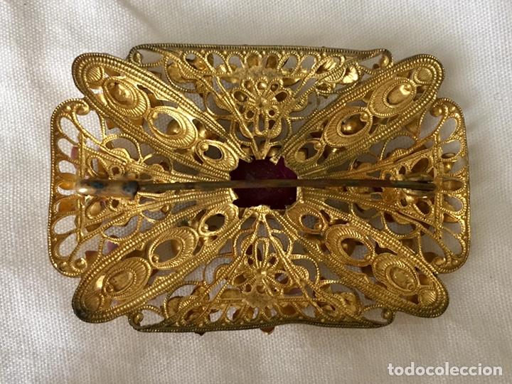 Joyeria: Antiguo broche checoslovaco de filigrana de laton, esmalte y cristal - Foto 6 - 176424522