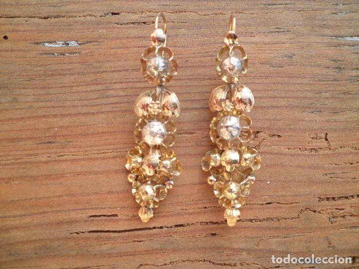 Joyeria: Pendientes isabelinos oro XIX antiguos - Foto 2 - 176580240